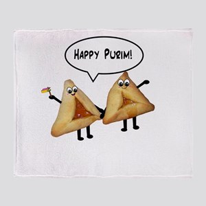 Happy Purim Hamantaschen Throw Blanket